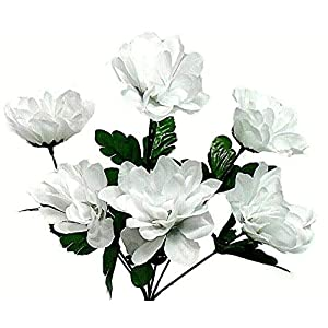 White 6 Head 3″ Dahlia Artificial Silk Flowers Wedding Bouquet Centerpiece Fake Faux, for Wedding Supplies