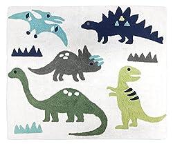5. SweetJoJo Designs Blue and Green Dinosaur Kids Rug