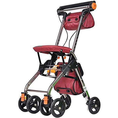 WANGXNCase Andador para Ancianos Plegable con Asiento, Ayuda para Caminar De Movilidad con Ruedas Portátil con Bolsa De Almacenamiento Y Sistema De Freno Doble para Ancianos ⭐