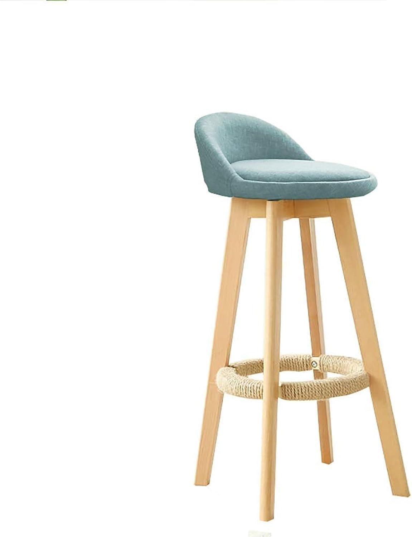 Bar Stool Cotton and Linen Modern Style Counter Chair Kitchen Breakfast Bar Chair 4 Wooden Legs LEBAO (Size   63cm)
