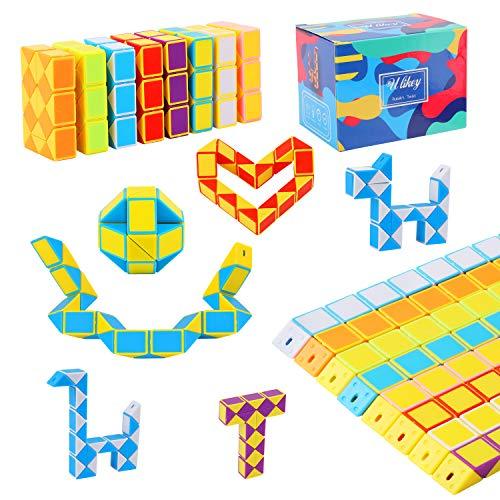 Ulikey 8 Pack de 24 Bloques Magic Snake Cube, Juguetes de Rompecabezas de Serpiente Twist Puzzle, Cubos de Juguete de Serpiente para Llenadores de Bolsos para Fiestas (TypeA)