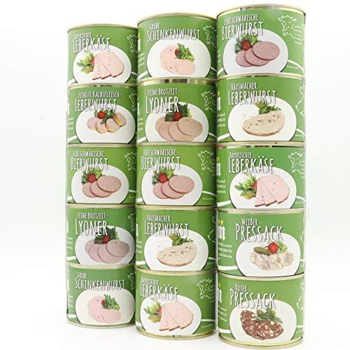 Dreier Dosenturm Set - 15 schmackhafte wie auch traditionelle Feinkost Wurstkonserven aus der Feinkost - Wurstmanufaktur Diem - Langes MhD - Gourmetwurst