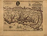 Historic Prints HP 18' x 24' 1667 Map of Virginia Discovered to Ye Hills & in It's Lattitude from 35 Degree & 1/2 Near Florida to 41 Degree Bounds of New England