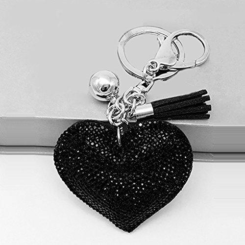 Bluelans® Strass Herz Keychain Schlüsselanhänger Schöne Mode Legierung Fahrzeugschlüssel Handtaschenanhänger Taschenanhänger (Schwarz)