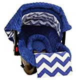 Jagger Cotton Minky Infant Car Seat Cover 5 Pc Gift Set Ultimate Baby Protection