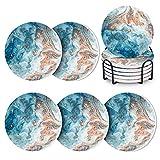 Midore Untersetzer Gläser 6er Set, Premium Rund Blau Marmor Saugfähiger Keramik Glasuntersetzer mit Halter, Korkboden Tischuntersetzer für Glas, Tassen, Vasen, Kerzen