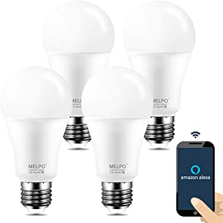 Melpo Smart Light Bulb 90W Equivalent, WiFi Dimmable LED Light Bulbs, A19 Daylight Led Lights for Room,5700K, E26 Base, Compatible with Alexa, Google Home Assistant, No Hub Required (4 Pack)