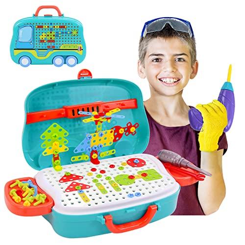 Montessori Juguetes Mosaicos Bloques Puzzle 3D Juegos De Construccion con Taladros El¨¦ctrico Juguete Maletin Herramientas con Ruedas Rompecabezas Manualidades Regalos para Ni?os 3 4 5 6 A?os