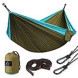 Terra Hiker Hamac de Camping pour 1 - 2 Personnes, Hamac Double, 300 x 200 cm, Nylon à Parachute, 2 Mousquetons et 2 Sangles Inclus, Pour Randonnée Voyage Plage Jardin