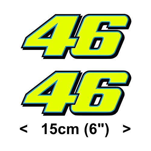 Valentino Rossi Aufkleber gelb fluoreszierend 46 Vinyl Abziehbild (2013 15cm)