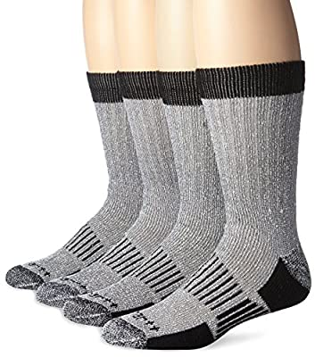 Carhartt Men's A118-4 Cold Weather Wool Blend Crew Socks (Pack of 4), Black, Shoe Size: 6-12