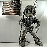 Recycling/Scrap Metal Standing Warrior Sculpture Handmade-Piston Man,Creative Wars Action Resin Figure Statue,A Best Gift for Kids and Friends (Flag Bearer)