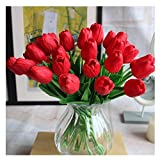 Artificial PU Real Touch Tulips 10 Pcs Flowers Arrangement Bouquet for Home Office Wedding Decoration (Red)
