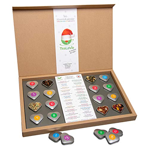 Tee Adventskalender 2020 | 24x hochwertiger loser Tee in edlen Teedosen | Magnet-Klappschachtel aus Naturpapier | Handmade | 220g | Tee-Kalender | TEALAVIE - Weihnachts-Kalender