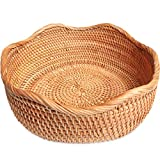 Handmade Rattan Round Woven Rustic Basket, Flower-Shaped Bread Basket Round Tabletop Rattan Woven Snack Fruit Serving Bowls (M -10.2inch)