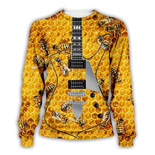 Old Time Bee Keeper 3D Stampato Uomini Felpa Moda Puro Miele Grezzo Unisex Bambini Wasp Shirt (7 Colori),Guitar,L