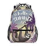 LUCKYEAH - Mochila escolar con diseño de perezoso de palmeras para adolescentes y niñas, para viajes, camping, gimnasio, senderismo