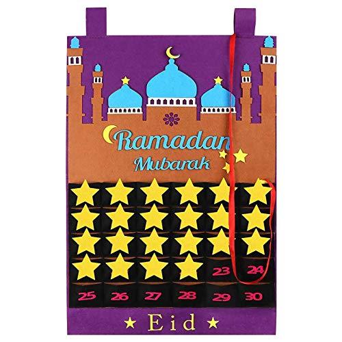 Filz Ramadan Kalender, Eid Mubarak Countdown Hängende Filz, 30 Tage Eid Mubarak Adventsdekorationen für zu Hause, Adventskalender Eid Mubarak Countdown-Kalender Adventskalender Ramadan Dekoration