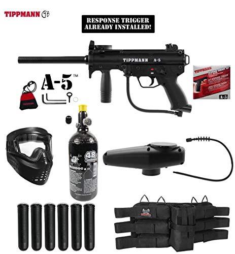 Maddog Tippmann A-5 w/Response Trigger Titanium HPA Paintball Gun Marker Starter Package - Black
