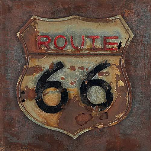 ETA-TM Tableau Métal 3D Route 66. Art Métal Peint en Relief. Dimensions 80 X 80 X 7 cm. Décoration Murale Métallique. Tableau Métal US. Décoration Design Contemporaine. Exclusivité. en Stock