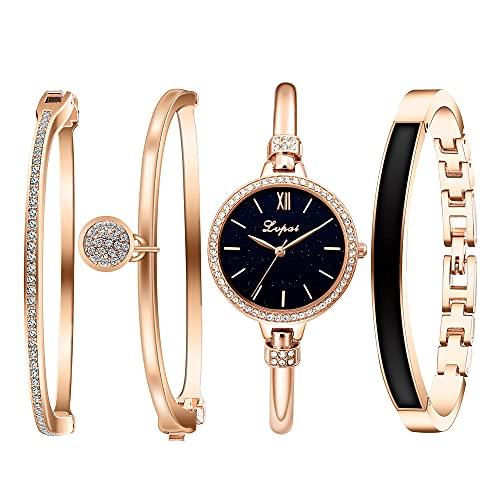 Clastyle Conjunto Reloj y Pulsera Mujer Elegant Oro Rosa Relojes de Pulsera Cristal con 3 Brazaletes Reloj Cielo Estrellado y Pulsera