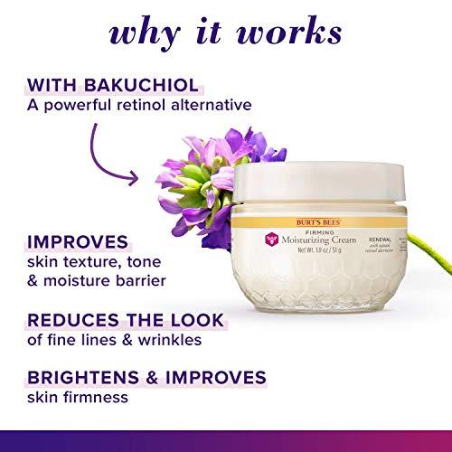 513YiPE83aL - Burt's Bees Renewal Firming Moisturizing Cream with Bakuchiol Natural Retinol Alternative – 1.8 ounces (Packaging May Vary)