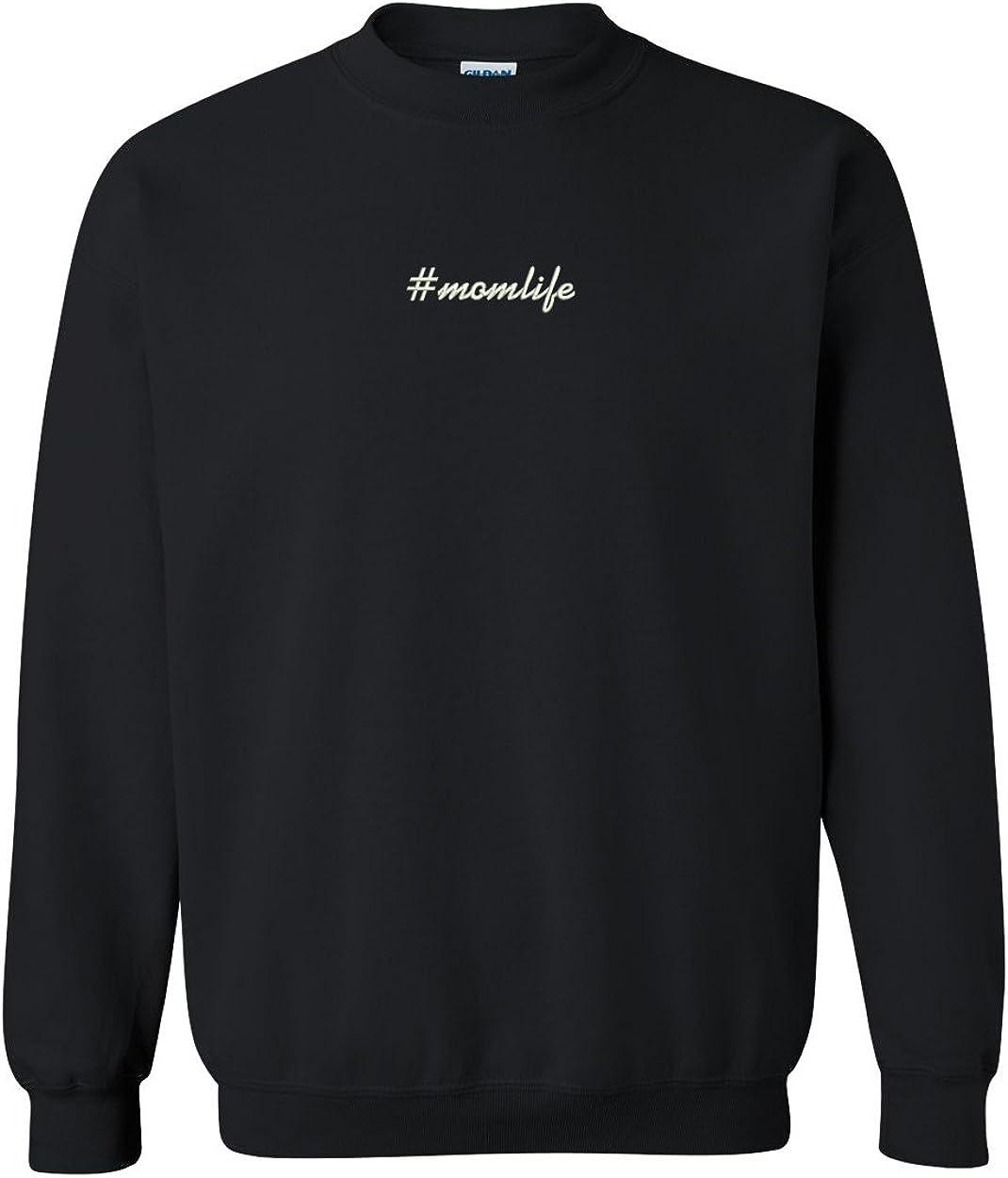 Trendy Apparel Shop Hashtag #Momlife Embroidered Crewneck Sweatshirt