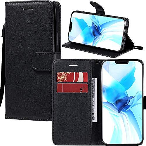 Capa carteira XYX para Moto Z4, Moto Z4 Play, capa carteira de couro PU de cor sólida com suporte com compartimentos para cartão e alça de pulso para Motorola Moto Z4 Play/Moto Z4 (Preta)