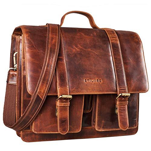STILORD 'Marius' Klassische Lehrertasche Leder Schultasche XL groß Aktentasche zum Umhängen Businesstasche Laptoptasche echtes Rindsleder, Farbe:Kara - Cognac