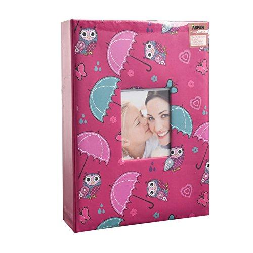 ARPAN - Álbum de Fotos, para 200 Fotos de 13 x 18 cm, con diseño de Moda, Foto con Ventana, Paraguas de búho Rosa, 21.5 x 4 x 28.5 cm