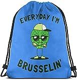 Everyday I 'm Brusselin Drawstring Backpack Rucksack Sacs à bandoulière Gym Bag