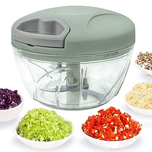 520 ml Handzerkleinerer manuelle Küchenmaschine, Zugschnur zum Schneiden von Gemüse, Zwiebeln, Knoblauch, Nüssen, Tomaten in Sekunden, gebogene Edelstahlklingen(Grün)