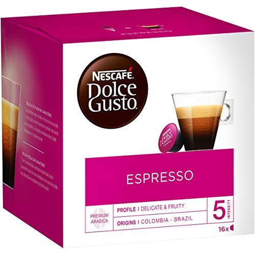 NESCAFÉ Dolce Gusto Espresso   48 capsules de café   Fèves arabica nobles à 100%   Espresso de caractère   Note de grenade fruitée   Velouté Crema   Capsules à l'arôme   3 pack (3 x 16 capsules)