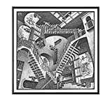 "BaikalGallery Cuadro M.C. Escher ""RELATIVIDAD"" (V2805)- Moldura de Aluminio Color Negro - Montaje en Panel Adhesivo (Foam)- Laminado en Mate (Sin Cristal)- (50x50cm)"