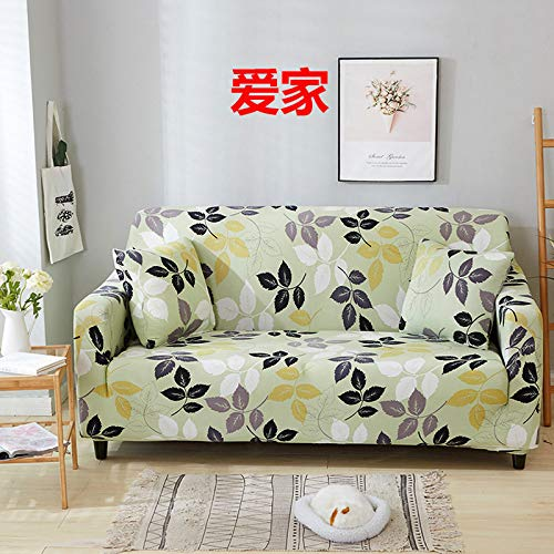 RFEGEF Slipcover Sofa Cover,Super Stretch Couch Cover Black White Leaf Print Green Universal Elastic Sofa Covers for Kids Dogs Pet Living Room Furniture Protector Friendly,S:90,140Cm(35,55Inch)