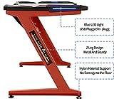 Ficmax Computer-Spieltisch Z-Bein-Spieltisch mit LED-Licht Ergonomischer PC-Schreibtisch für Gamer Pro-Computertisch mit Leder-Fender-Stoff in Z-Form Home-Office-Schreibtisch Großer (rot) - 3