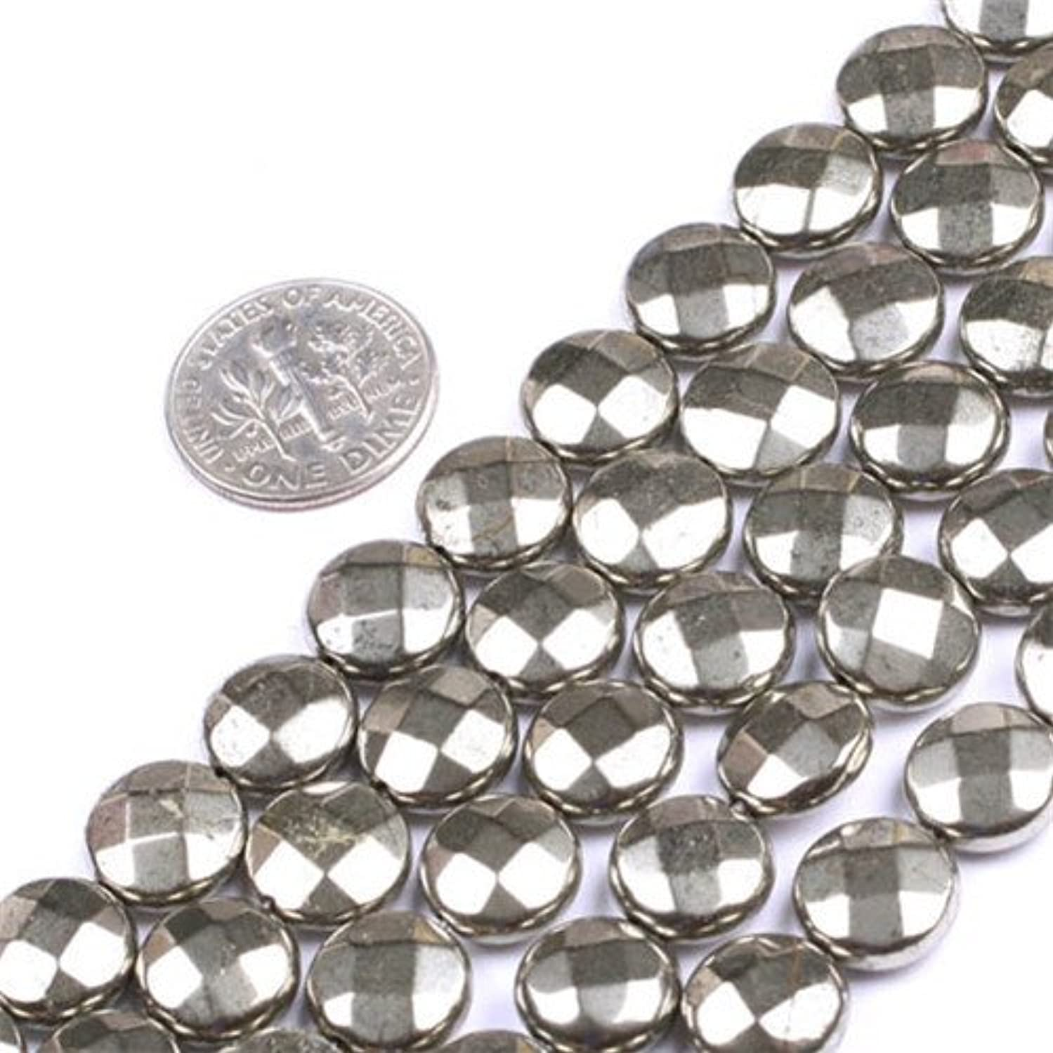 GEM-insid Silver Gray Pyrite Gemstone Loose Beads Natural Energy Power Beads For Jewelry Making 10mm Coin Faceted 15