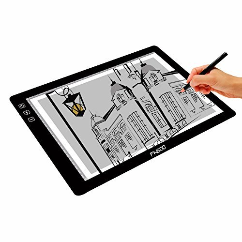 "PNBOO PA4 18"" (Diagonal Length) Ultra Thin(7mm) Tracing Light Box with 10 PCS A4 Sheets and 1 Drawing Glove"