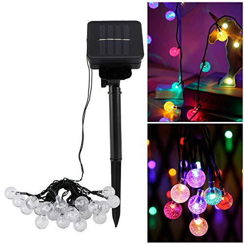 03 Christmas Lights,20 LED Spherical Solar String Light Waterproof String Lights Solar Patio Lights for Indoor Outdoor Party Wedding Christmas Tree Garden(Colour Light)
