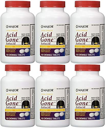 Acid Gone Antacid Chewable Generic for Gaviscon Extra Strength Chewable Tablets 100 Ct Per Bottle Pack of 6 Bottles Total 600 Tablets
