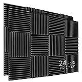 Kuchoow Aislante Acustico, Negro Espuma Acustica, 24 Piezas Paneles Absorbentes Acusticos para Podcasting, Estudios de Grabación, Oficinas