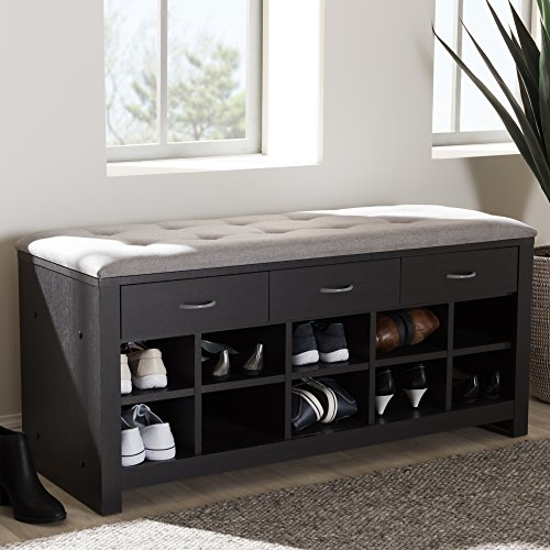 Baxton Studio 10 Cubby Upholstered Shoe Storage Bench in Gray
