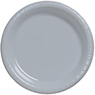 Creative Converting Touch of Color 50 Count Plastic Banquet Plates, Shimmering Silver