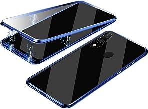 Jonwelsy Funda para Samsung Galaxy A20e, 360 Grados Delantera y Trasera de Transparente Vidrio Templado Case Cover, Fuerte Tecnología de Adsorción Magnética Metal Bumper Cubierta para A20e (Azul)