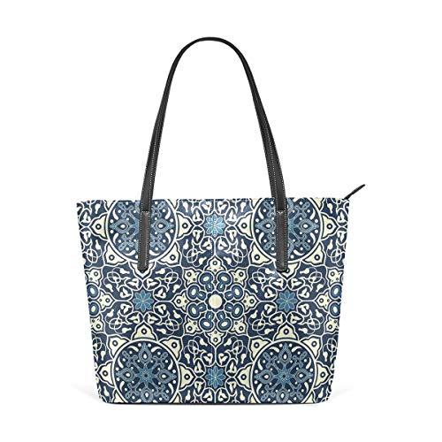 NR Multicolour Fashion Damen Handtaschen Schulterbeutel Umhängetaschen Damentaschen,Antikes Fliesen-mit Blumenmuster in empfindlichem altmodischem dekorativem künstlerischem