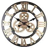 P Prettyia Reloj de Pared Decorativo con números Romanos, Madera/Metal, Vintage Industrial, de Gran tamaño, rústicos, Relojes a Pilas para el hogar, la - Dorado