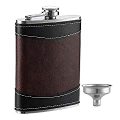 HIP FLASK WITH FUNNEL - Constructed of extra thick 18/8 304 stainless steel with a unique durable laser welded hinge. Buy now and enhance your drinking experience. Comes with a FREE funnel for quick & spill-free refill and gift box. Rust and corrosio...