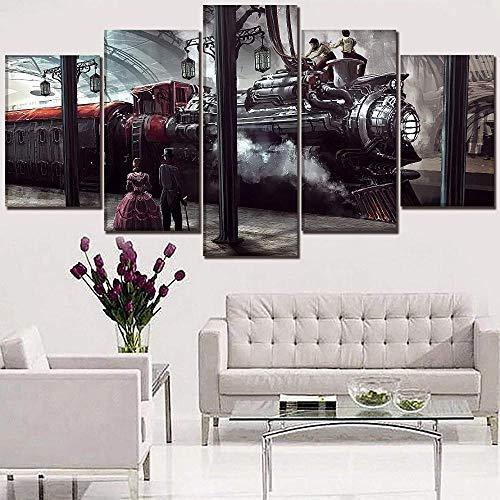 wodclockyui 5 Piezas Cuadro de Lienzo- Locomotora Steampunk Locomotora People Decoración de Pared para el hogar Pinturas y Carteles de Arte HD 200cmx100cm sin Marco
