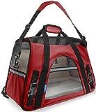 Ltuotu Portador del Perro Capazos Bolsa de Transporte para Mascotas Perros Gatos Animal Transportín Plegable, Aprobado por La Aerolínea de Viajes Portador del Bolso Lateral Suave (L(48*25*33cm), rojo)