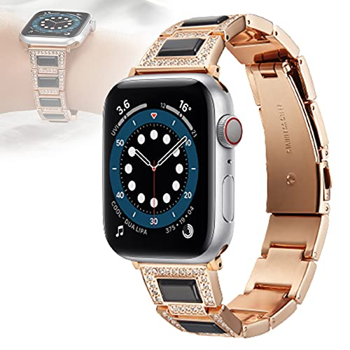 Compatible para Apple Watch Correa 40 Mm Correas Iwatch 38 Mm Diamante De Imitación Pulsera De Metal Pulsera Correa De Repuesto para Apple Watch SE Series 6/5/4/3/2/1,38mm/40mm